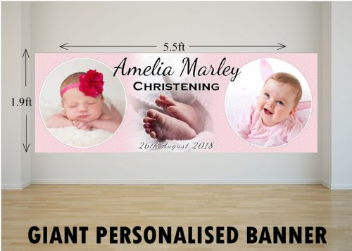 Personalised GIANT Large Girls Christening Baptism Poster Banner N3